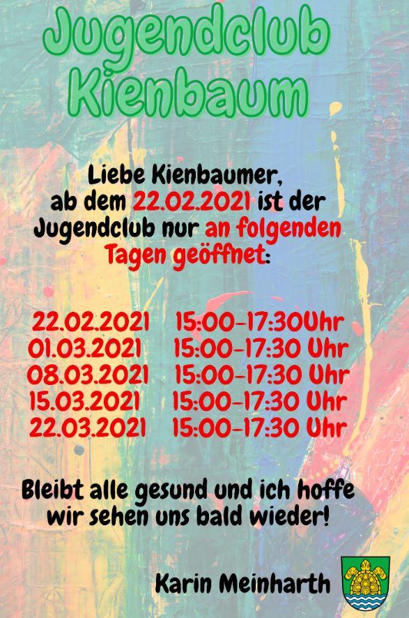 Jugendclub Kienbaum aktuelle Zeiten