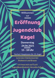 Plakat Wiedereröffnung Jugendclub Kagel
