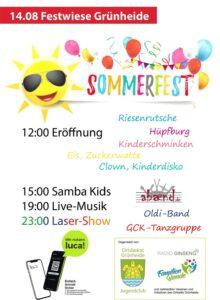 Einladung zum Sommerfest Grünheide 2021